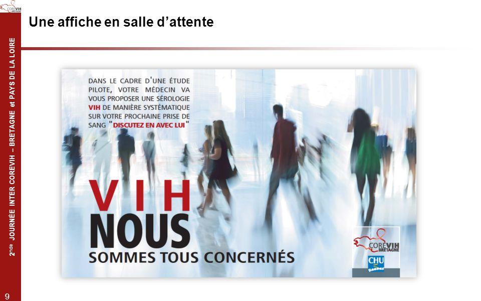 2 nde JOURNÉE INTER COREVIH – BRETAGNE et PAYS DE LA LOIRE 9 Une affiche en salle dattente