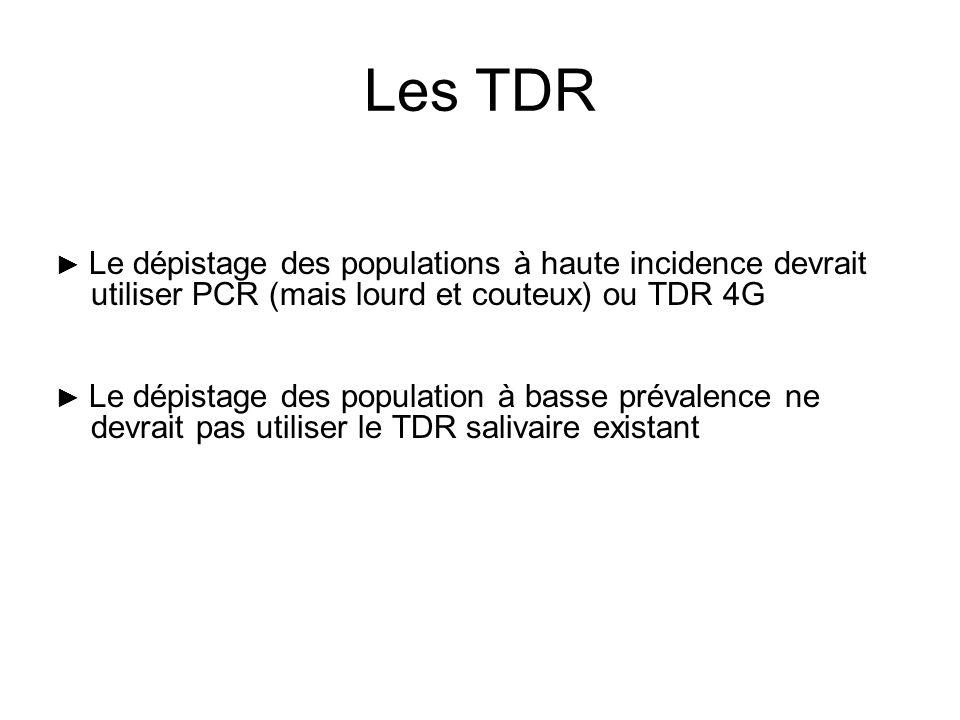 Les TDR Le dépistage des populations à haute incidence devrait utiliser PCR (mais lourd et couteux) ou TDR 4G Le dépistage des population à basse prév