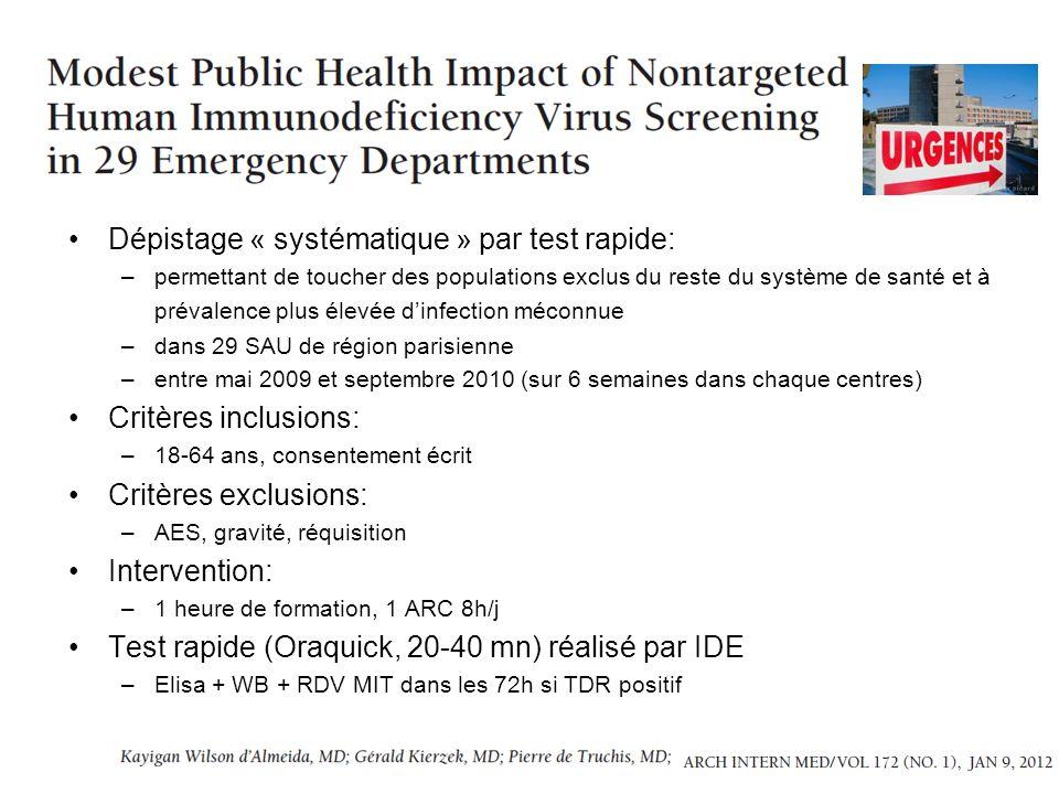 Dépistage « systématique » par test rapide: –permettant de toucher des populations exclus du reste du système de santé et à prévalence plus élevée din