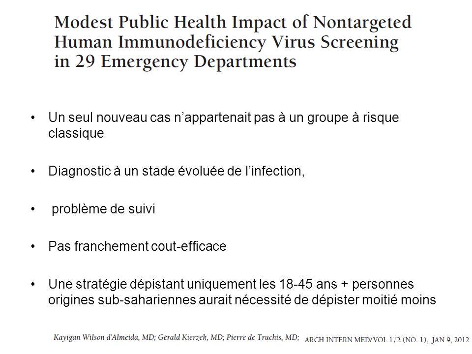 Un seul nouveau cas nappartenait pas à un groupe à risque classique Diagnostic à un stade évoluée de linfection, problème de suivi Pas franchement cou