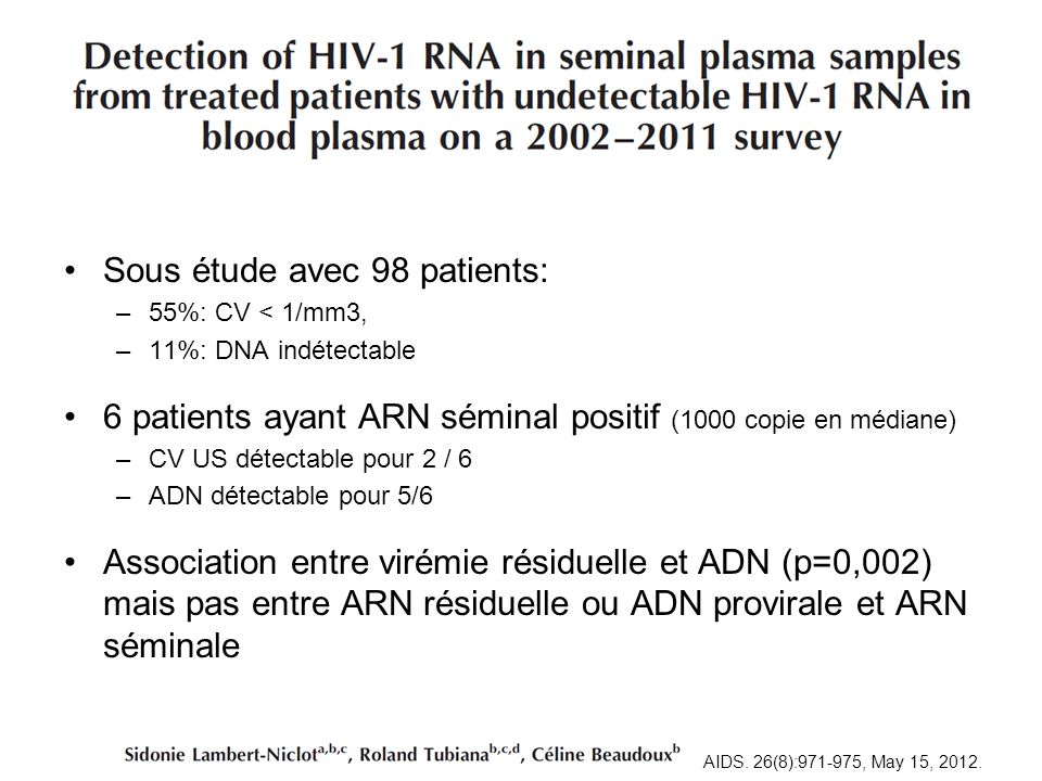 Sous étude avec 98 patients: –55%: CV < 1/mm3, –11%: DNA indétectable 6 patients ayant ARN séminal positif (1000 copie en médiane) –CV US détectable p