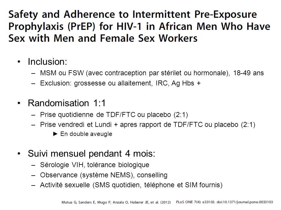 Inclusion: –MSM ou FSW (avec contraception par stérilet ou hormonale), 18-49 ans –Exclusion: grossesse ou allaitement, IRC, Ag Hbs + Randomisation 1:1