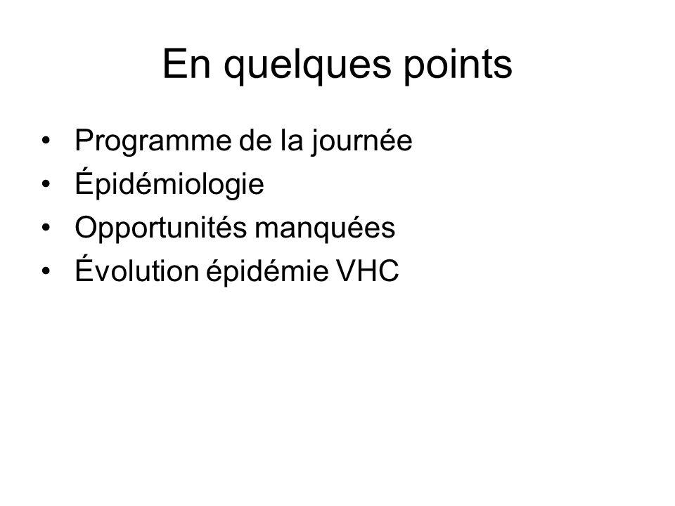 En quelques points Programme de la journée Épidémiologie Opportunités manquées Évolution épidémie VHC