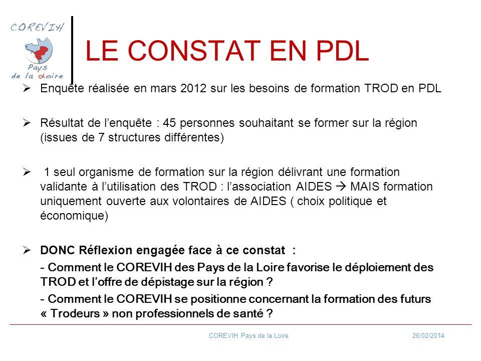 LE CONSTAT EN PDL Enquête réalisée en mars 2012 sur les besoins de formation TROD en PDL Résultat de lenquête : 45 personnes souhaitant se former sur