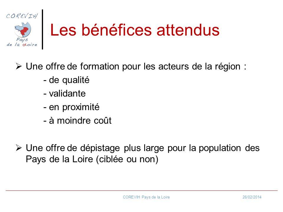 Les bénéfices attendus Une offre de formation pour les acteurs de la région : - de qualité - validante - en proximité - à moindre coût Une offre de dé