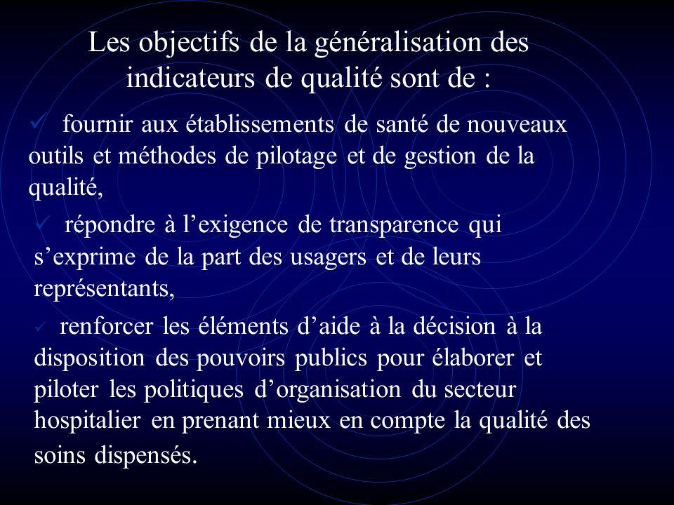 Les objectifs de la généralisation des indicateurs de qualité sont de : fournir aux établissements de santé de nouveaux outils et méthodes de pilotage