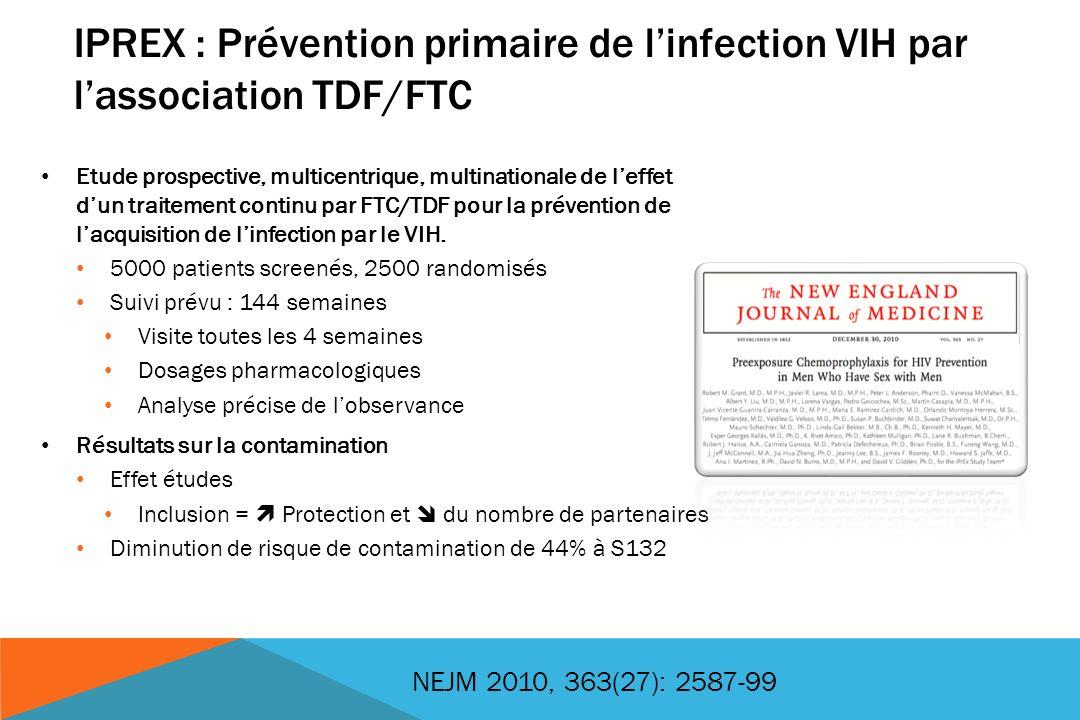 IPREX : Prévention primaire de linfection VIH par lassociation TDF/FTC Etude prospective, multicentrique, multinationale de leffet dun traitement cont