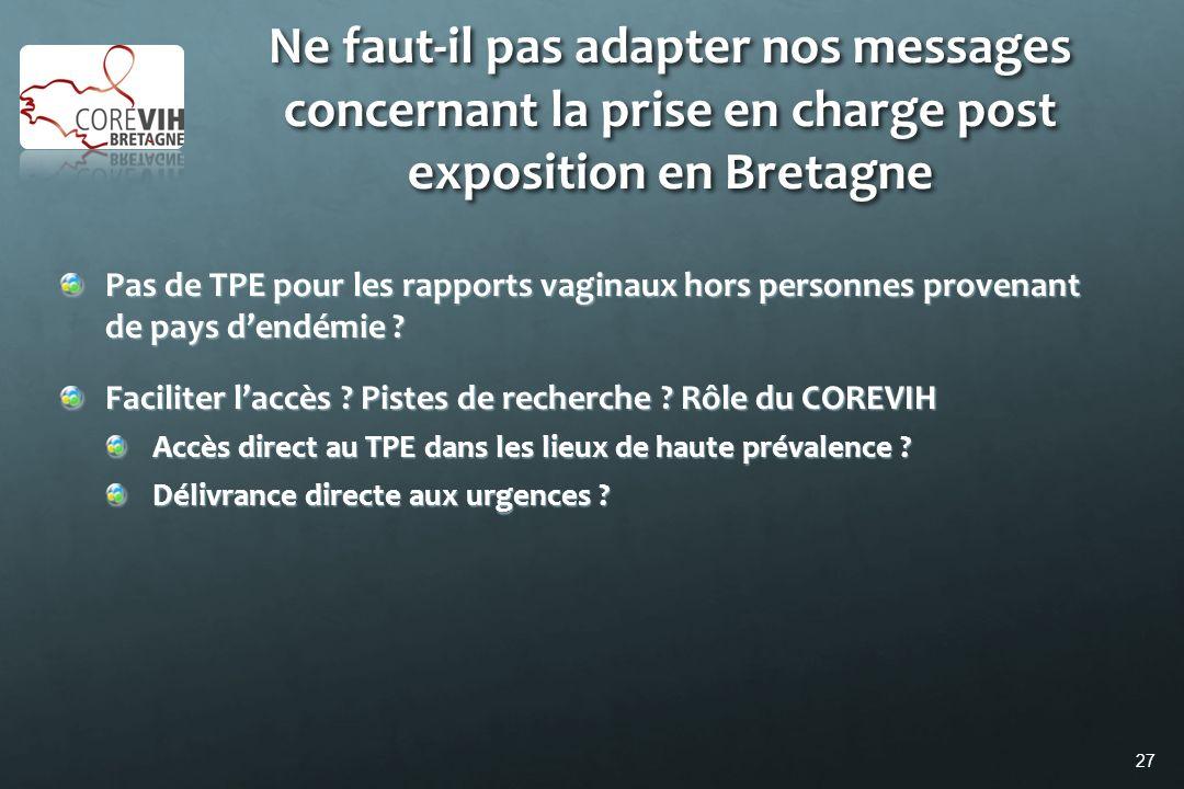 27 Ne faut-il pas adapter nos messages concernant la prise en charge post exposition en Bretagne Pas de TPE pour les rapports vaginaux hors personnes