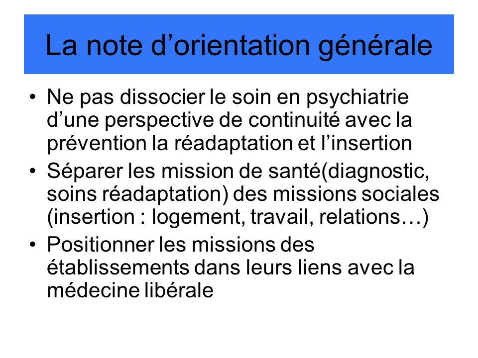 La note dorientation générale Ne pas dissocier le soin en psychiatrie dune perspective de continuité avec la prévention la réadaptation et linsertion
