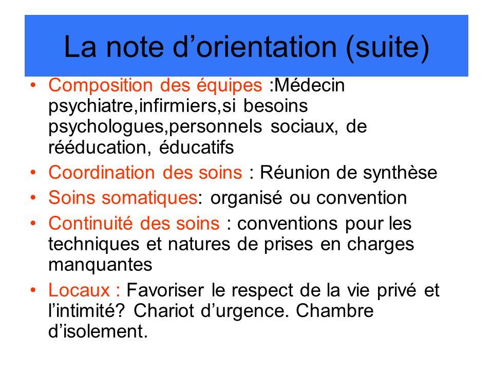 La note dorientation (suite) Composition des équipes :Médecin psychiatre,infirmiers,si besoins psychologues,personnels sociaux, de rééducation, éducat