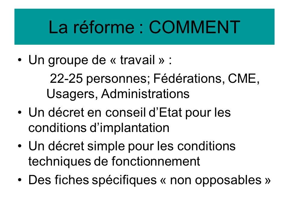 La réforme : COMMENT Un groupe de « travail » : 22-25 personnes; Fédérations, CME, Usagers, Administrations Un décret en conseil dEtat pour les condit