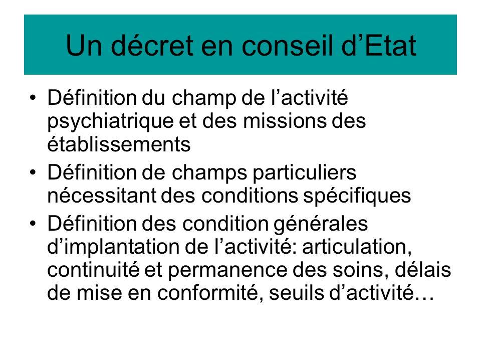 Un décret en conseil dEtat Définition du champ de lactivité psychiatrique et des missions des établissements Définition de champs particuliers nécessi