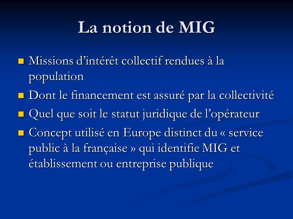 La notion de MIG Missions dintérêt collectif rendues à la population Missions dintérêt collectif rendues à la population Dont le financement est assur