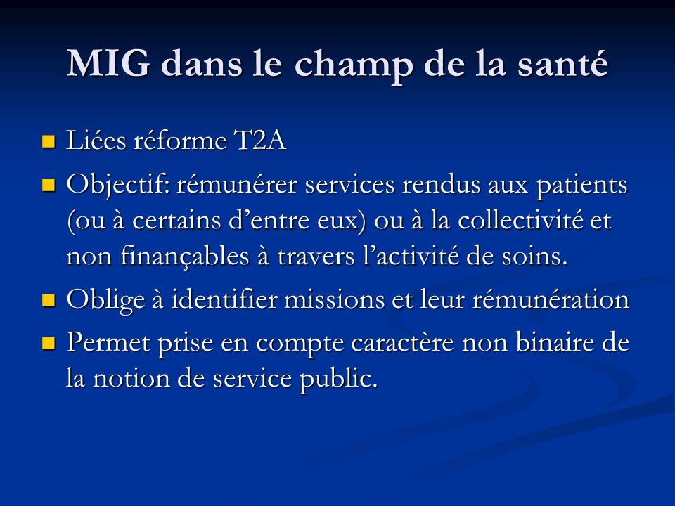 MIG dans le champ de la santé Liées réforme T2A Liées réforme T2A Objectif: rémunérer services rendus aux patients (ou à certains dentre eux) ou à la collectivité et non finançables à travers lactivité de soins.