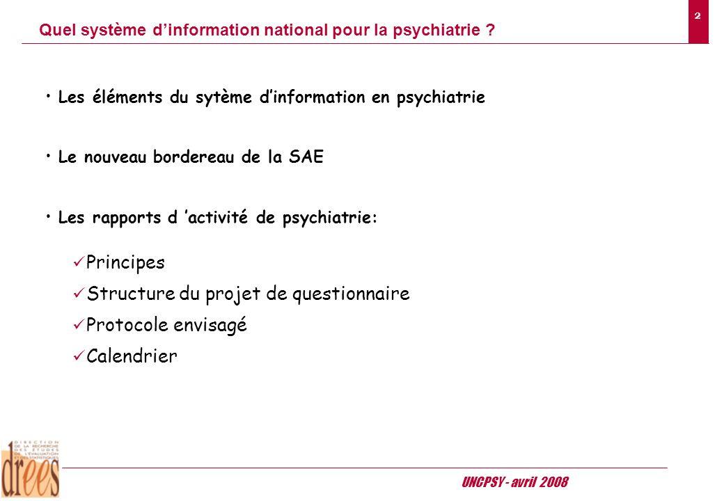 UNCPSY - avril 2008 2 Quel système dinformation national pour la psychiatrie .