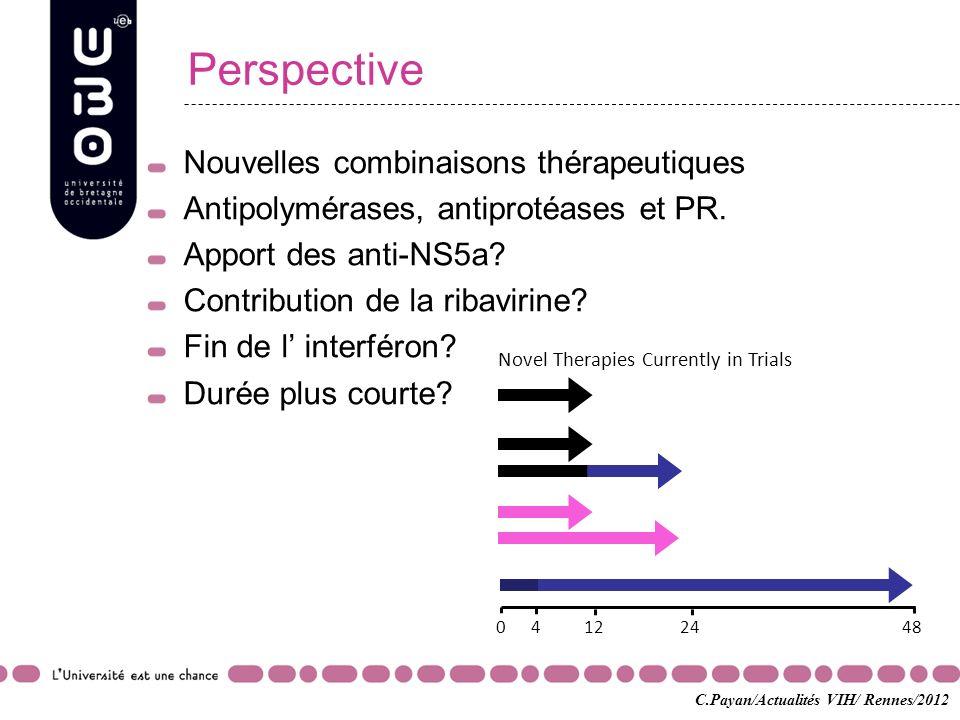 Perspective Nouvelles combinaisons thérapeutiques Antipolymérases, antiprotéases et PR. Apport des anti-NS5a? Contribution de la ribavirine? Fin de l