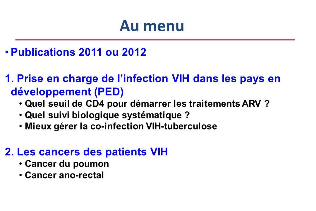 FDR de K du poumon chez les VIH Principaux facteurs de risque: Fumer, être blanc La CV au moment du diagnostic (mais pas les CD4, ni leur nadir)