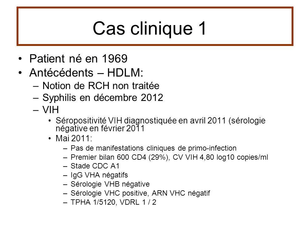 Patient né en 1969 Antécédents – HDLM: –Notion de RCH non traitée –Syphilis en décembre 2012 –VIH Séropositivité VIH diagnostiquée en avril 2011 (séro