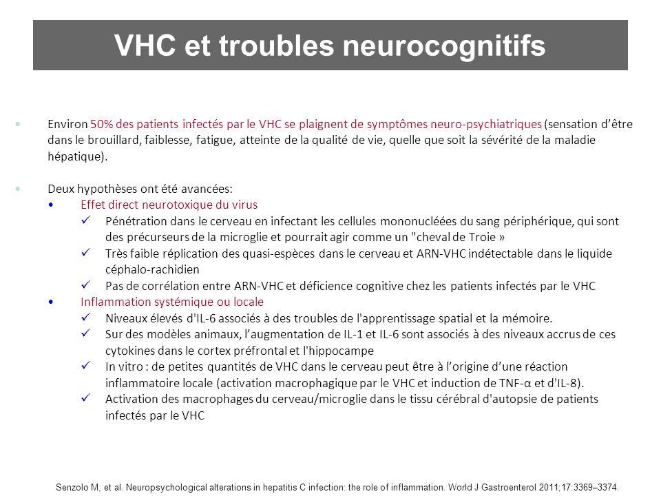 VHC et troubles neurocognitifs Environ 50% des patients infectés par le VHC se plaignent de symptômes neuro-psychiatriques (sensation dêtre dans le br