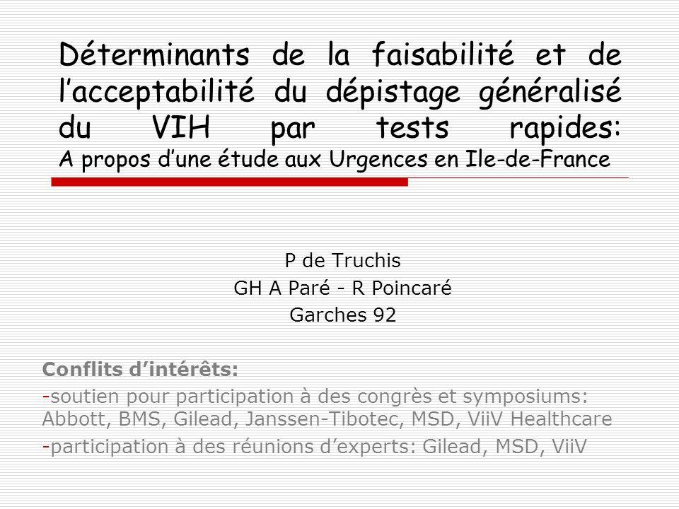 Déterminants de la faisabilité et de lacceptabilité du dépistage généralisé du VIH par tests rapides: A propos dune étude aux Urgences en Ile-de-Franc