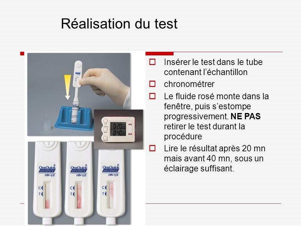 Réalisation du test Insérer le test dans le tube contenant léchantillon chronométrer Le fluide rosé monte dans la fenêtre, puis sestompe progressiveme