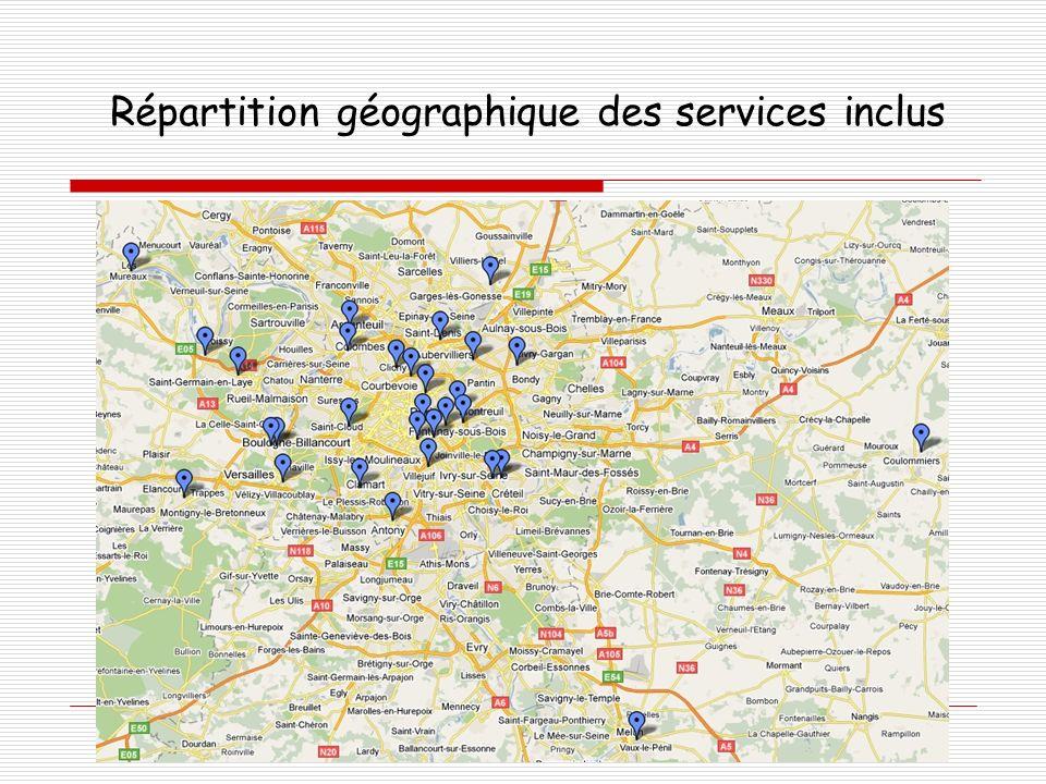 Répartition géographique des services inclus