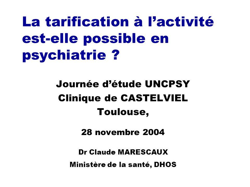 Journée d étude UNC PSY, Toulouse, 28 novembre 2003, Dr Claude MARESCAUX, Ministère de la santé, DHOS 12 GHJ et GHA (3) yRéaliser comme prévu le recueil des actes directs au patient, en 2004 yEn y incluant toutes les réunions dites « de synthèse » yEt ne pas mettre aux oubliettes le rôle que chaque variable classante peut avoir, prise individuellement xEx: ancienneté de la prise en charge xEx: Age du patient xEx: passage en chambre disolement