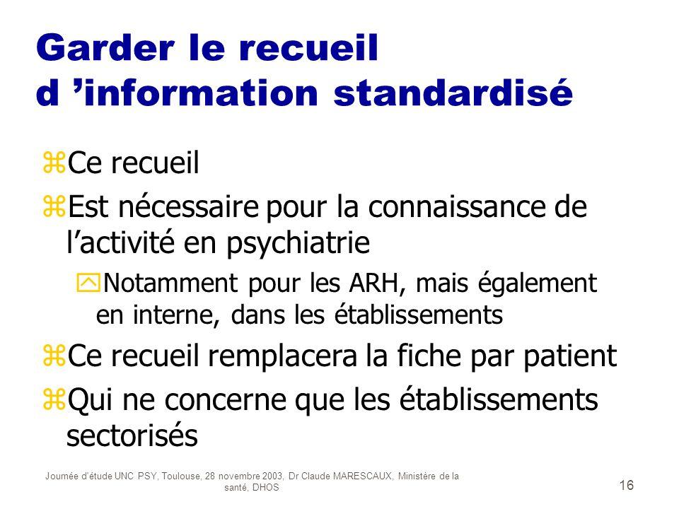 Journée d'étude UNC PSY, Toulouse, 28 novembre 2003, Dr Claude MARESCAUX, Ministère de la santé, DHOS 16 Garder le recueil d information standardisé z