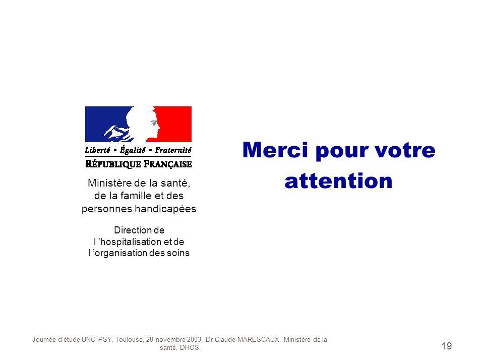 Journée d'étude UNC PSY, Toulouse, 28 novembre 2003, Dr Claude MARESCAUX, Ministère de la santé, DHOS 19 Merci pour votre attention Ministère de la sa