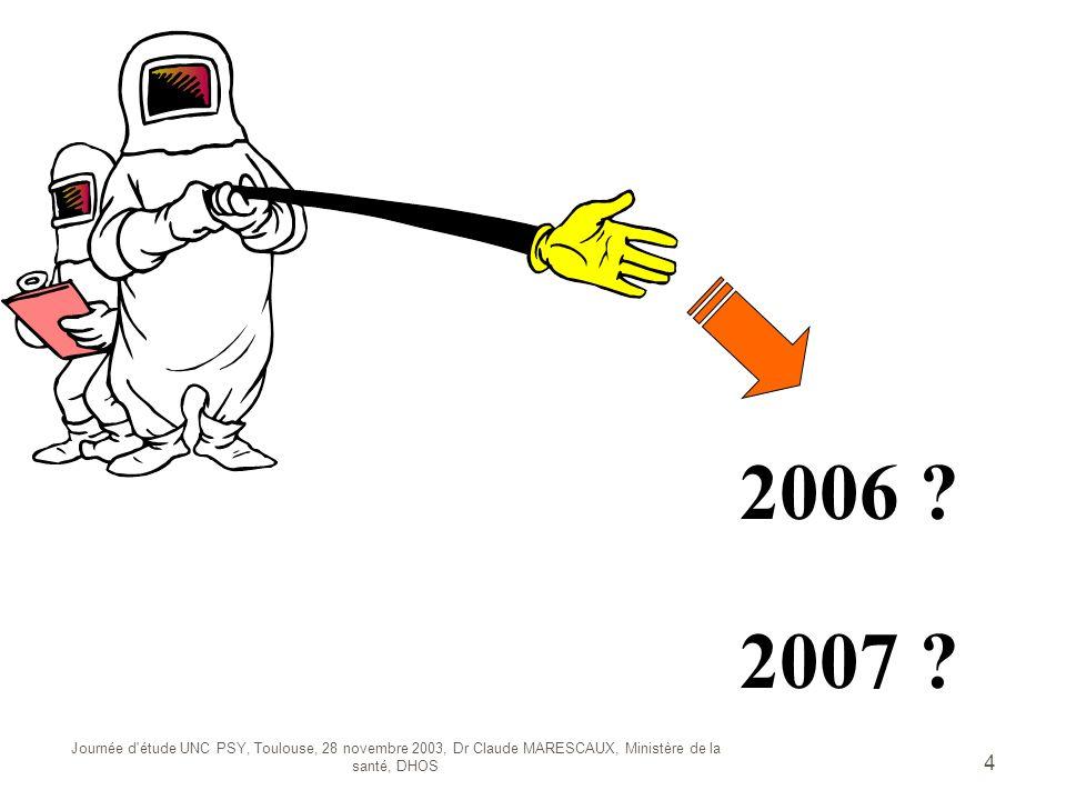 Journée d'étude UNC PSY, Toulouse, 28 novembre 2003, Dr Claude MARESCAUX, Ministère de la santé, DHOS 4 2006 ? 2007 ?