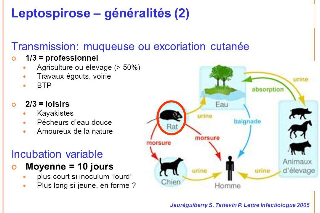 Leptospirose – généralités (2) Transmission: muqueuse ou excoriation cutanée 1/3 = professionnel Agriculture ou élevage (> 50%) Travaux égouts, voirie