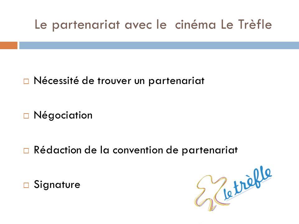 Le partenariat avec le cinéma Le Trèfle Nécessité de trouver un partenariat Négociation Rédaction de la convention de partenariat Signature