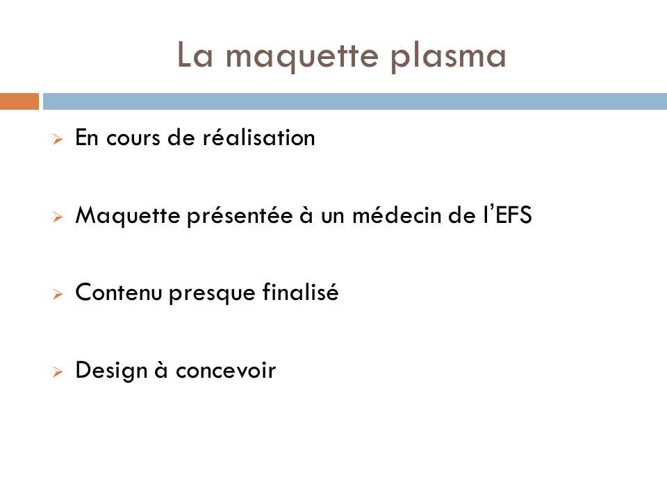 La maquette plasma En cours de réalisation Maquette présentée à un médecin de lEFS Contenu presque finalisé Design à concevoir