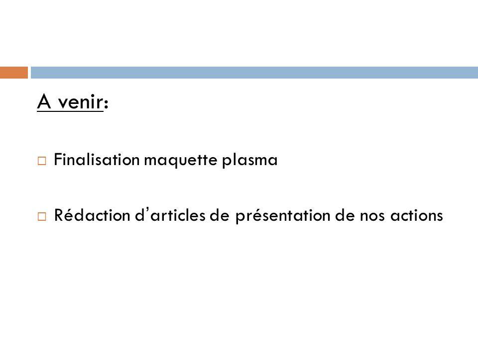 A venir: Finalisation maquette plasma Rédaction darticles de présentation de nos actions