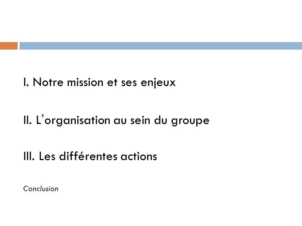 I. Notre mission et ses enjeux II. Lorganisation au sein du groupe III. Les différentes actions Conclusion