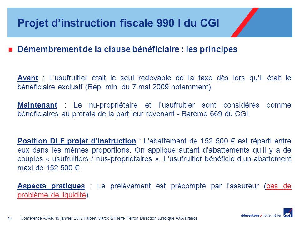 Conférence AJAR 19 janvier 2012 Hubert Marck & Pierre Ferron Direction Juridique AXA France 11 Démembrement de la clause bénéficiaire : les principes