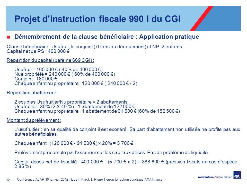 Conférence AJAR 19 janvier 2012 Hubert Marck & Pierre Ferron Direction Juridique AXA France 12 Démembrement de la clause bénéficiaire : Application pr