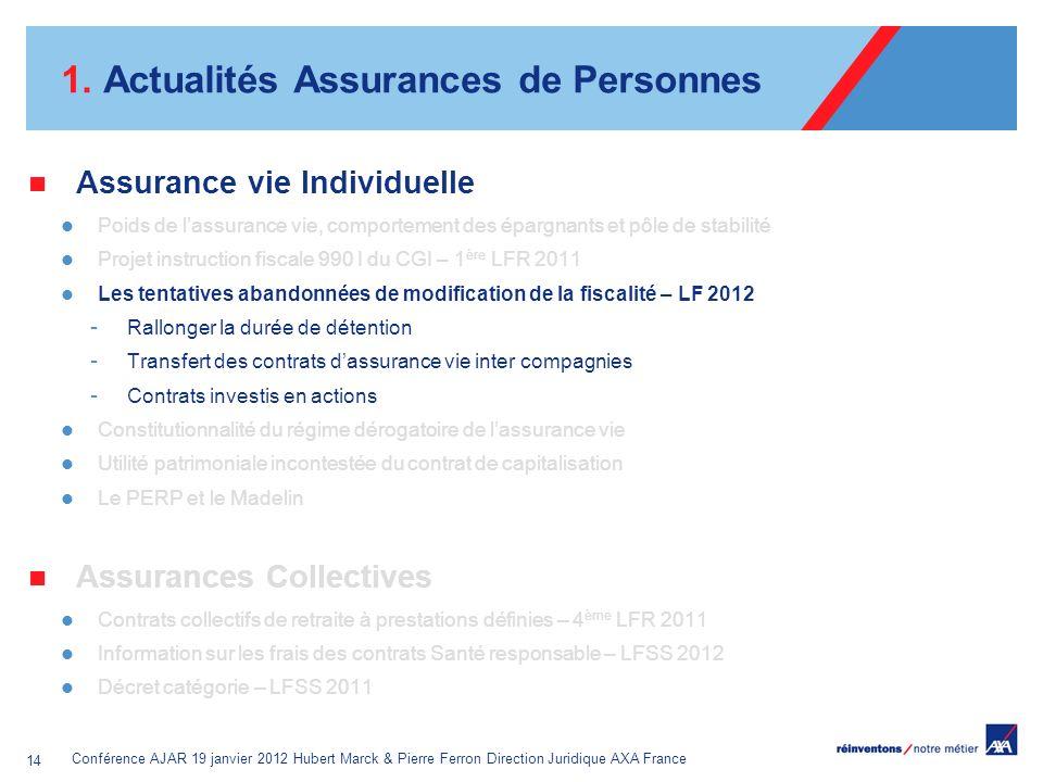 Conférence AJAR 19 janvier 2012 Hubert Marck & Pierre Ferron Direction Juridique AXA France 14 1. Actualités Assurances de Personnes Assurance vie Ind