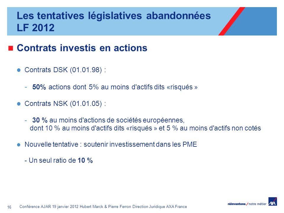 Conférence AJAR 19 janvier 2012 Hubert Marck & Pierre Ferron Direction Juridique AXA France 16 Contrats investis en actions Contrats DSK (01.01.98) :