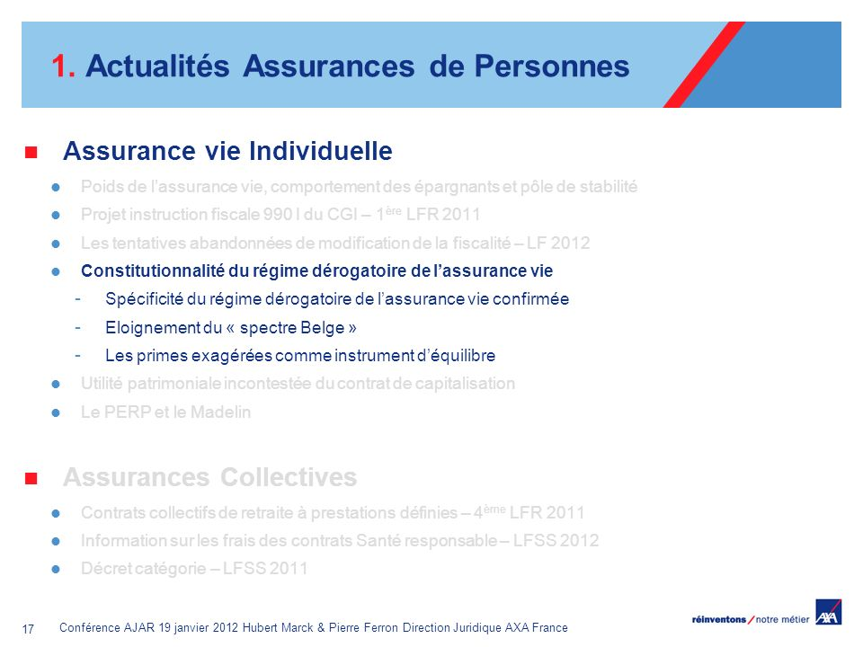 Conférence AJAR 19 janvier 2012 Hubert Marck & Pierre Ferron Direction Juridique AXA France 17 1. Actualités Assurances de Personnes Assurance vie Ind