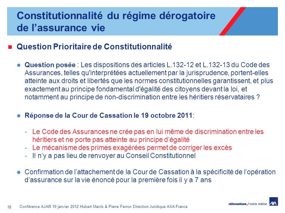 Conférence AJAR 19 janvier 2012 Hubert Marck & Pierre Ferron Direction Juridique AXA France 18 Question Prioritaire de Constitutionnalité Question pos
