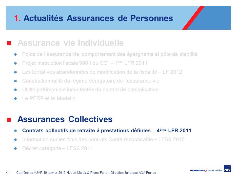 Conférence AJAR 19 janvier 2012 Hubert Marck & Pierre Ferron Direction Juridique AXA France 19 1. Actualités Assurances de Personnes Assurance vie Ind