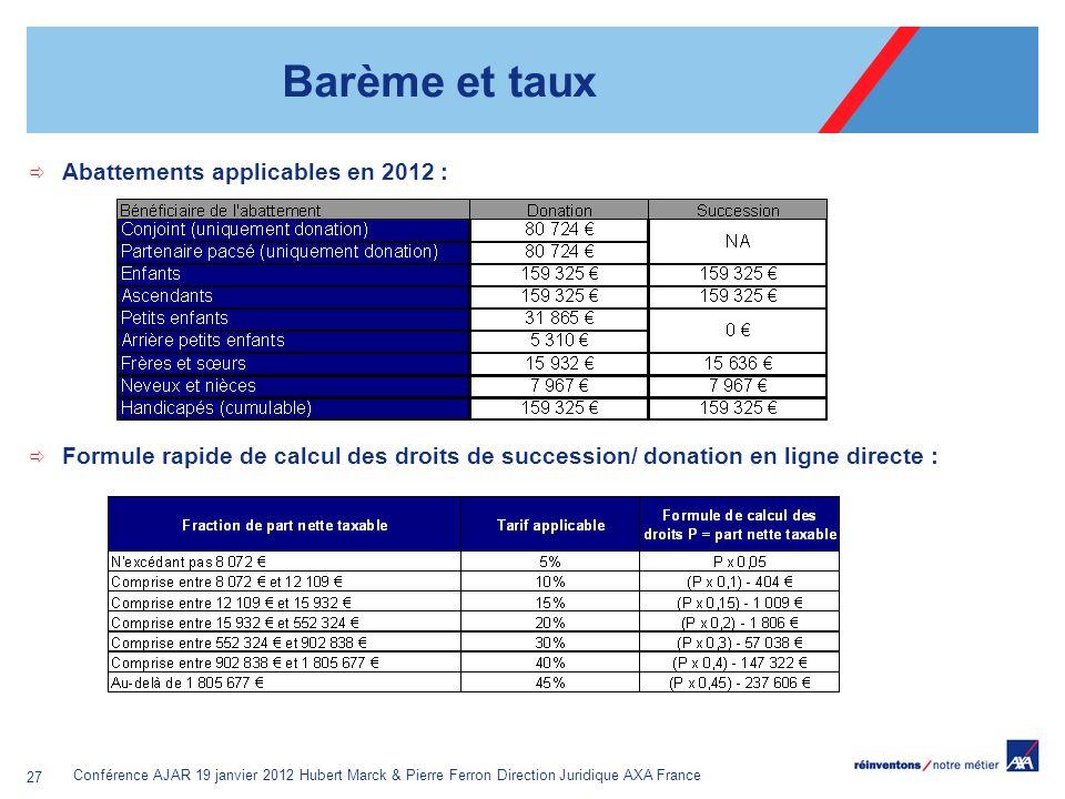 Conférence AJAR 19 janvier 2012 Hubert Marck & Pierre Ferron Direction Juridique AXA France 27 Barème et taux Abattements applicables en 2012 : Formul