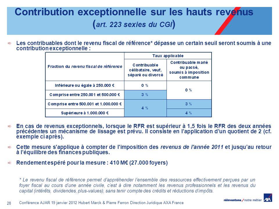 Conférence AJAR 19 janvier 2012 Hubert Marck & Pierre Ferron Direction Juridique AXA France 28 Contribution exceptionnelle sur les hauts revenus ( art