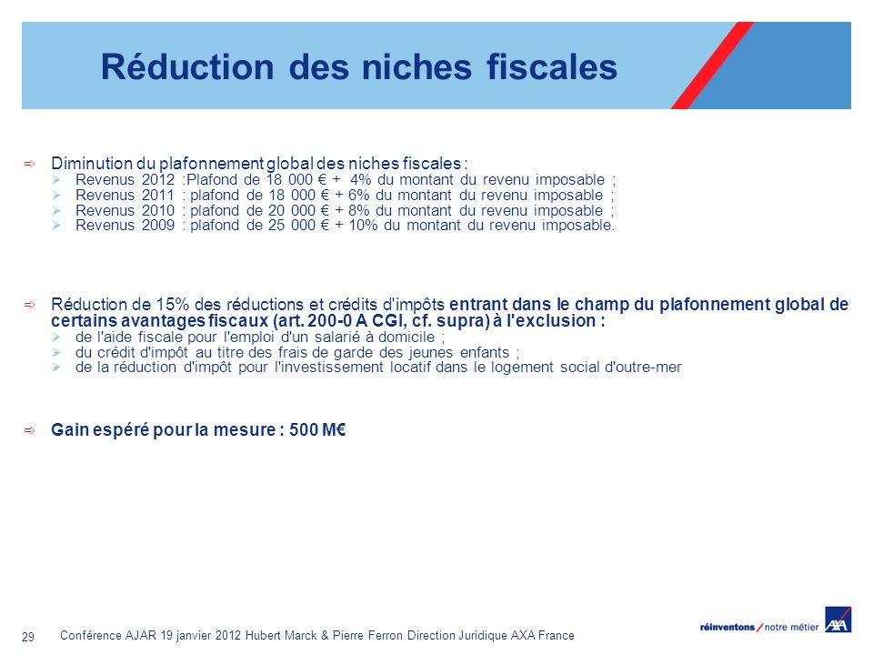 Conférence AJAR 19 janvier 2012 Hubert Marck & Pierre Ferron Direction Juridique AXA France 29 Réduction des niches fiscales Diminution du plafonnemen