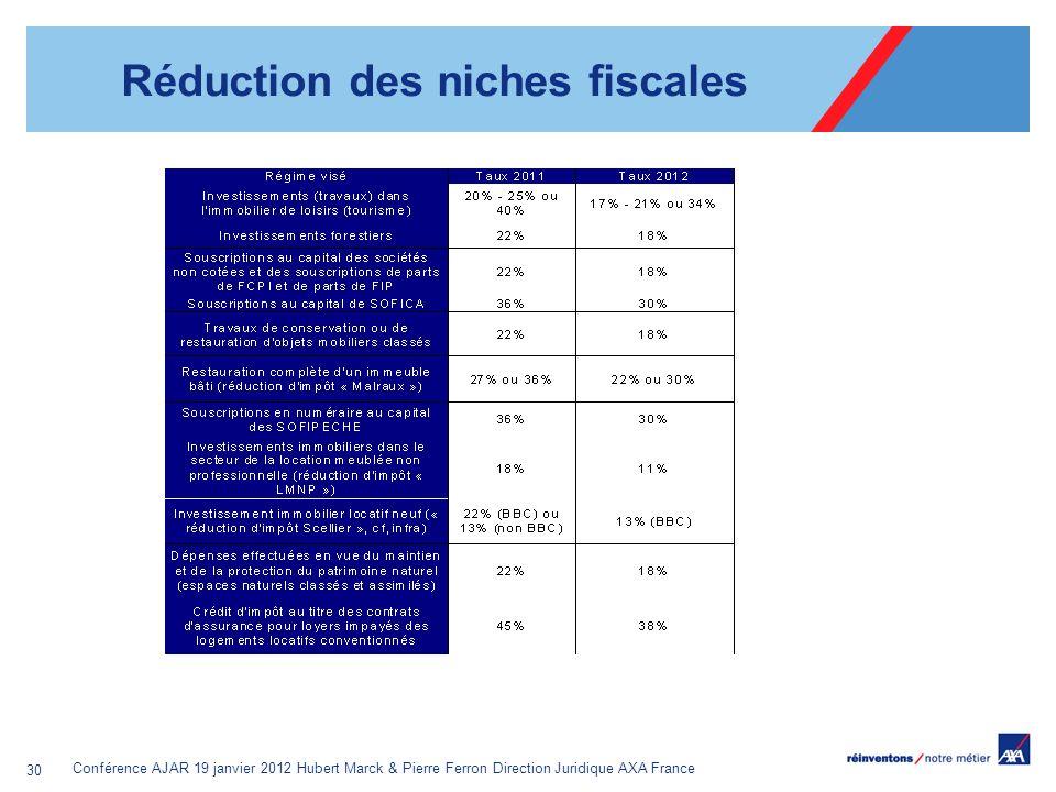 Conférence AJAR 19 janvier 2012 Hubert Marck & Pierre Ferron Direction Juridique AXA France 30 Réduction des niches fiscales