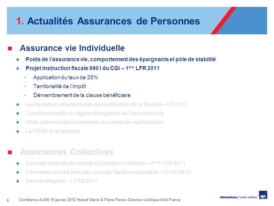 Conférence AJAR 19 janvier 2012 Hubert Marck & Pierre Ferron Direction Juridique AXA France 6 1. Actualités Assurances de Personnes Assurance vie Indi