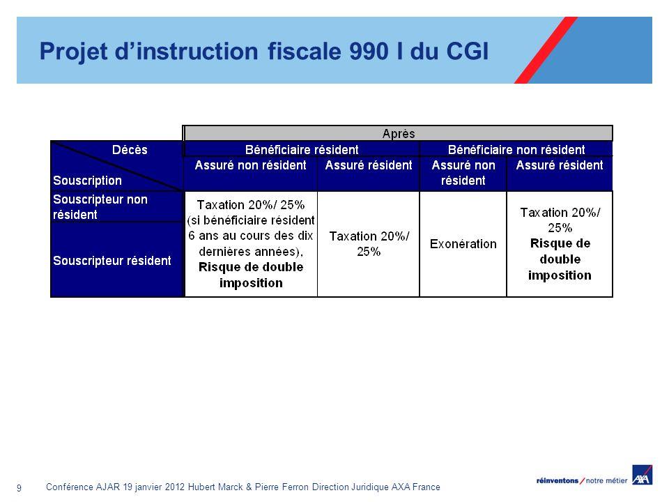 Conférence AJAR 19 janvier 2012 Hubert Marck & Pierre Ferron Direction Juridique AXA France 9 Projet dinstruction fiscale 990 I du CGI