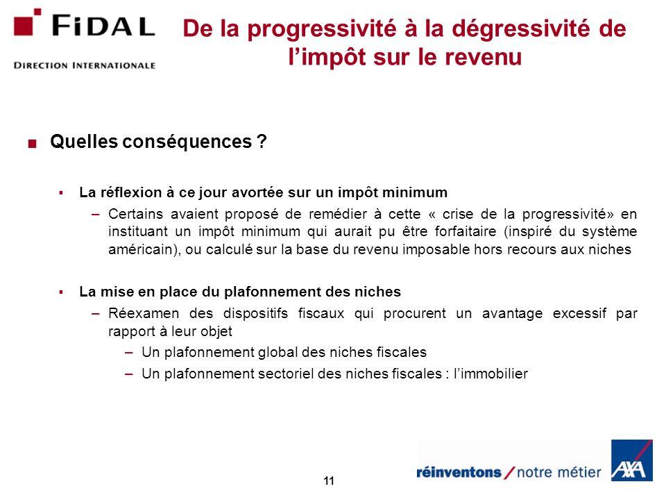 11 De la progressivité à la dégressivité de limpôt sur le revenu Quelles conséquences ? La réflexion à ce jour avortée sur un impôt minimum –Certains