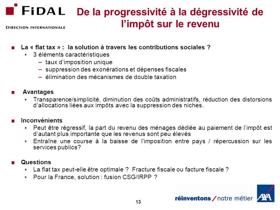 13 De la progressivité à la dégressivité de limpôt sur le revenu La « flat tax » : la solution à travers les contributions sociales ? 3 éléments carac